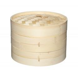 Cestello in Bambù per Cottura al Vapore con 2 Ripiani + Coperchio