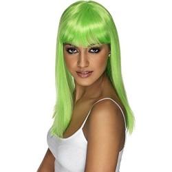 Parrucca lunga liscia Verde Fluo