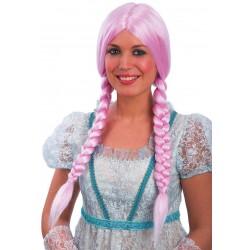 Parrucca Rosa con trecce laterali