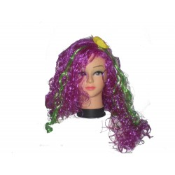 Parrucca ondulata Viola con meche verde