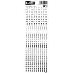 R41 - Trasferibili Grafica Balaustrino, G778, diametro 3mm, 3,5mm, 4mm, NERO.