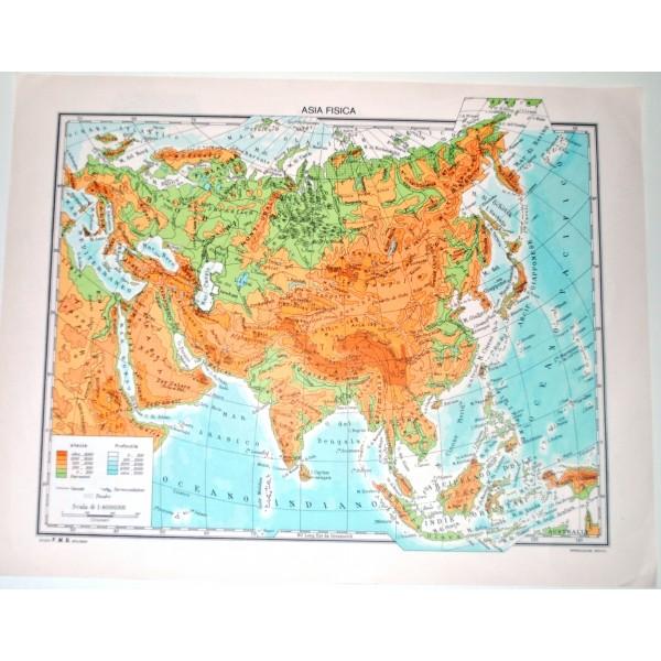 Cartina Asia Fisica.Asia Fisica Politica Carta Geografica Studio F M B Bologna 1 40 000 000 Il Punto Esclamativo