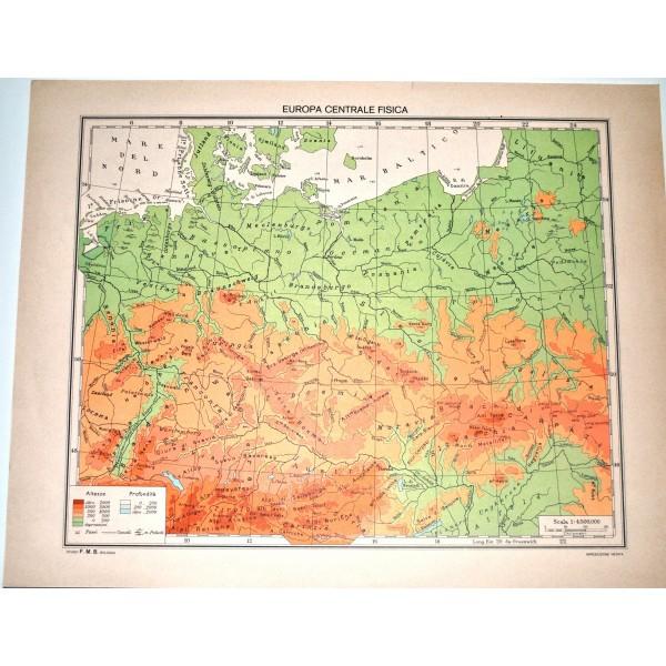Europa Centrale Cartina Politica.Europa Centrale Fisica Politica Carta Geografica Studio F M B Bologna 1 4 500 000