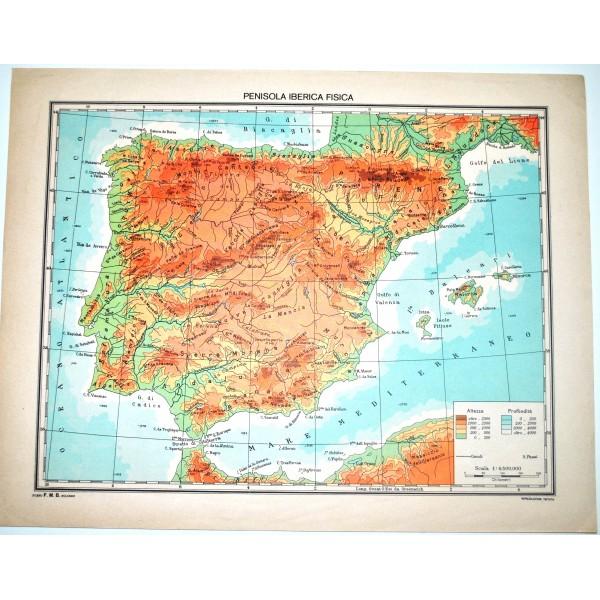 Cartina Geografica Della Spagna Politica.Penisola Iberica Fisica Politica Carta Geografica Studio F M B Bologna 1 4 500 000 Il Punto Esclamativo