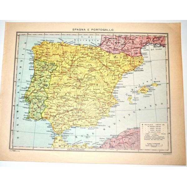 Portogallo Cartina Geografica Politica.Penisola Iberica Fisica Politica Carta Geografica Studio F M B Bologna 1 4 500 000 Il Punto Esclamativo