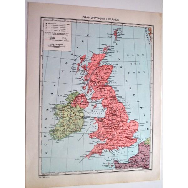 Cartina Geografica Gran Bretagna E Irlanda.Gran Bretagna E Irlanda Fisica Politica Carta Geografica Studio F M B Bologna 1 4 500 000 Il Punto Esclamativo