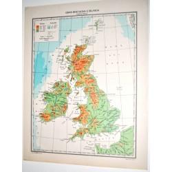 GRAN BRETAGNA E IRLANDA FISICA - POLITICA \ Carta Geografica - Studio F.M.B. Bologna 1:4.500.000