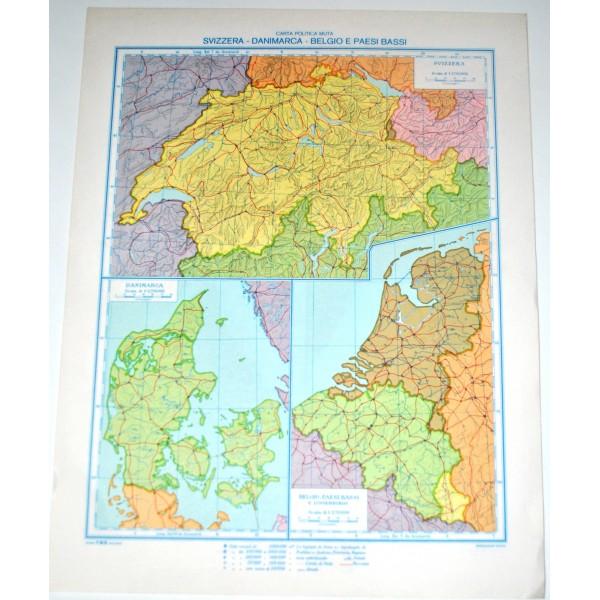 Svizzera Cartina Geografica Politica.Svizzera Danimarca Paesi Bassi Fisica Politica Carta Geografica Studio F M B Bologna 1 2 700 000 Il Punto Esclamativo
