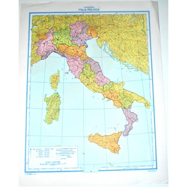 Cartina Italia Politica Ingrandita.Italia Fisica Politica Carta Geografica Muta Studio F M B Bologna 1 4 200 000 Il Punto Esclamativo