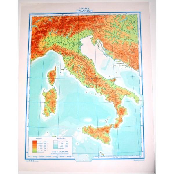 Cartina Fisica Muta.Italia Fisica Politica Carta Geografica Muta Studio F M B Bologna 1 4 200 000 Il Punto Esclamativo