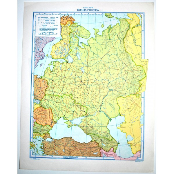 Cartina Fisica Muta Della Russia.Russia Fisica Politica Carta Geografica Muta Studio F M B Bologna 1 12 300 000 Il Punto Esclamativo