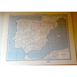 PENISOLA IBERICA FISICA - POLITICA \ Carta Geografica - Studio F.M.B. Bologna 1: 4.500.000