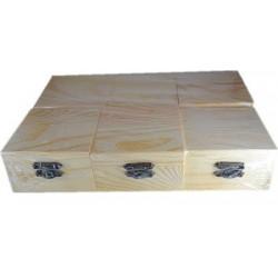 6 Scatole 9x9x5 cm di Legno Grezzo da Decorare