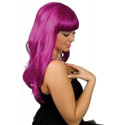Parrucca lunga liscia magenta viola